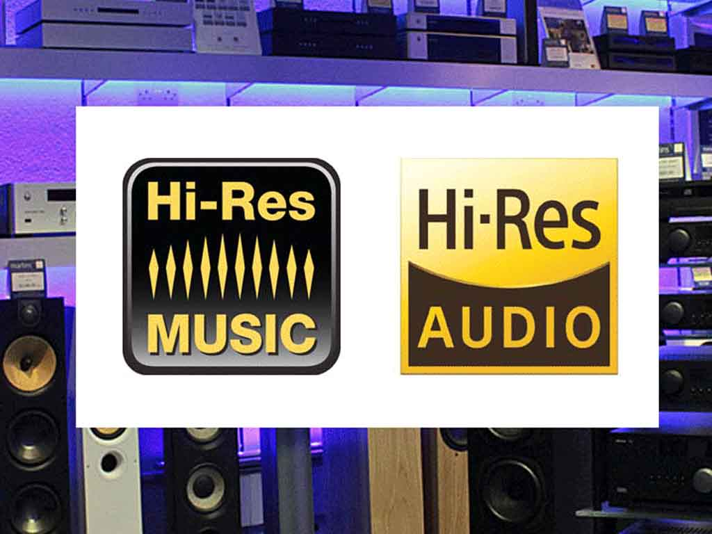 hi-res music logo in front of an internal shot of martins hifi