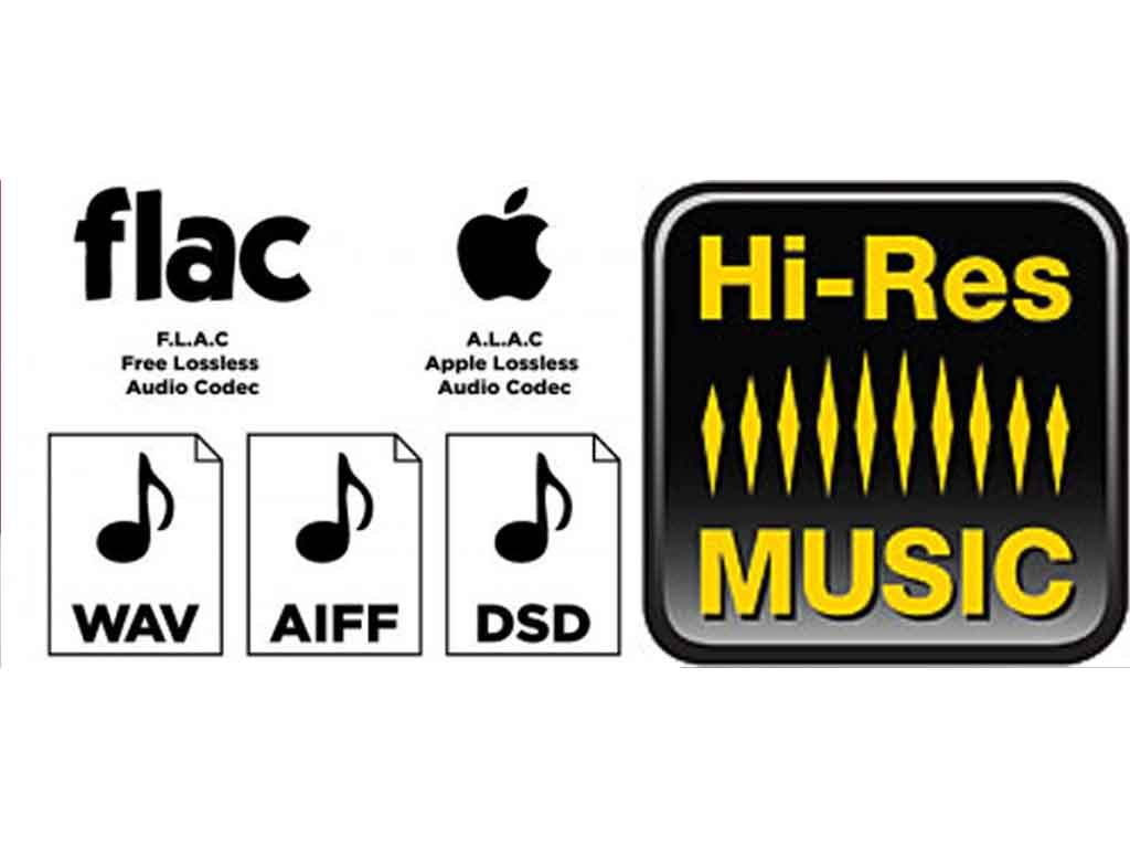 image showing a visual guide to the type of files available to download wav, aiff, dsd, flac ,alac