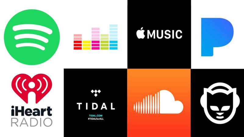 multiple streaming sites logos, spotify, napster, tial apple music, google etc