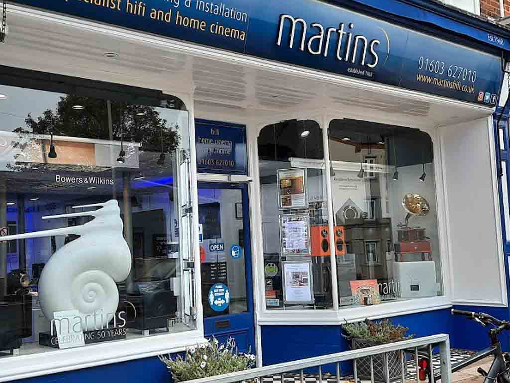 Martins Hi-Fi Norwich Front of the Shop on Ber Street